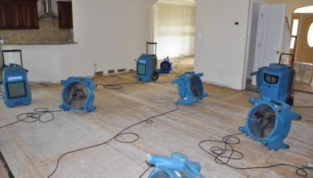 Air movers aid to dry water damage in Sanford home