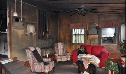 enclosed back porch fire