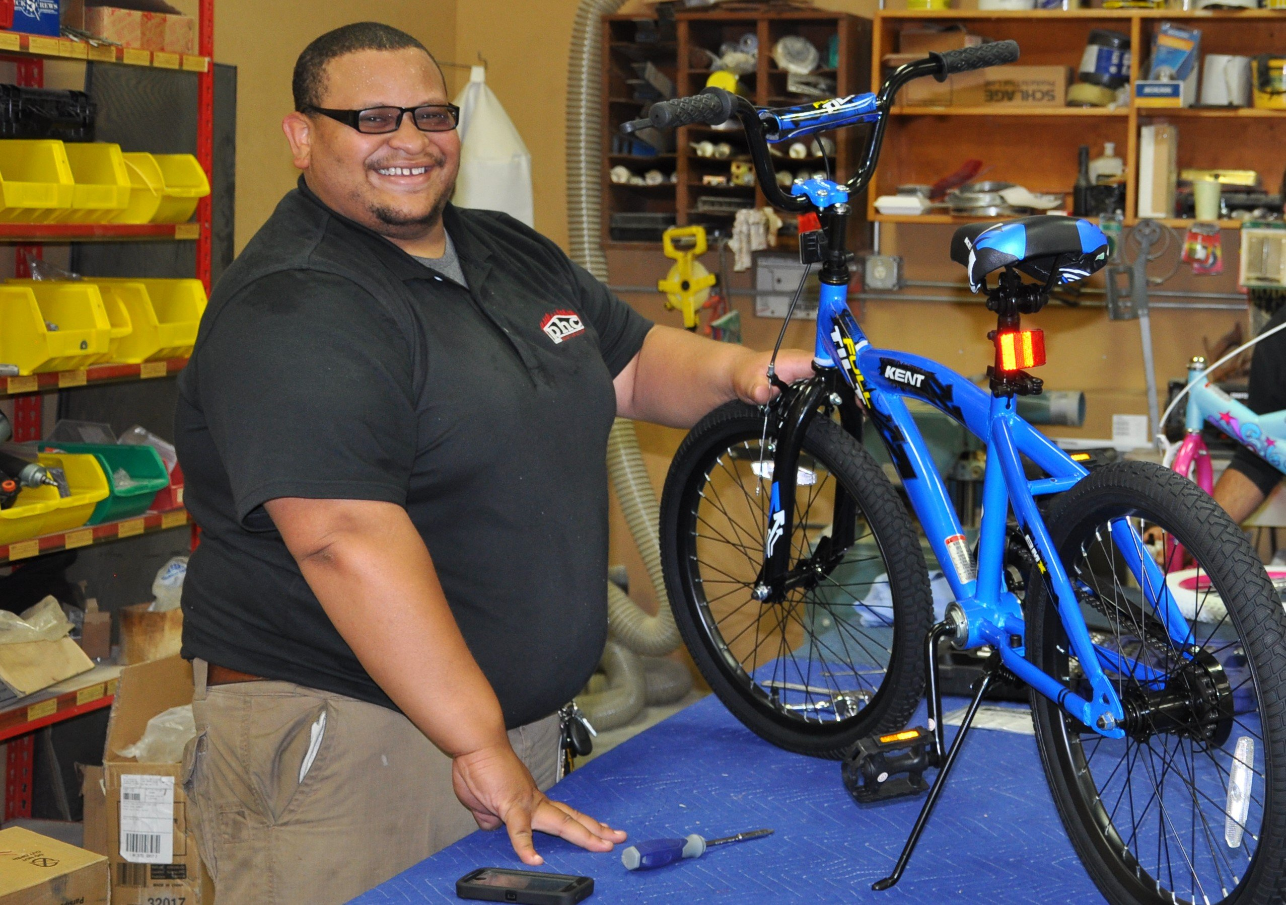 bike assembly for local kids at Christmas